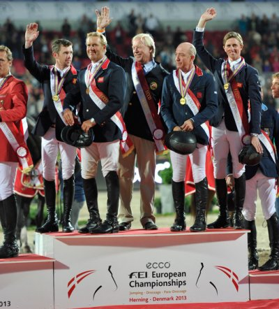 The British made history again today when adding the PSI FEI European Team Jumping Championship 2013 title to last summer's Olympic team gold.  Pictured (L to R): Scott Brash, Will Funnell, Chef d'Equipe Rob Hoekstra, Michael Whitaker and Ben Maher