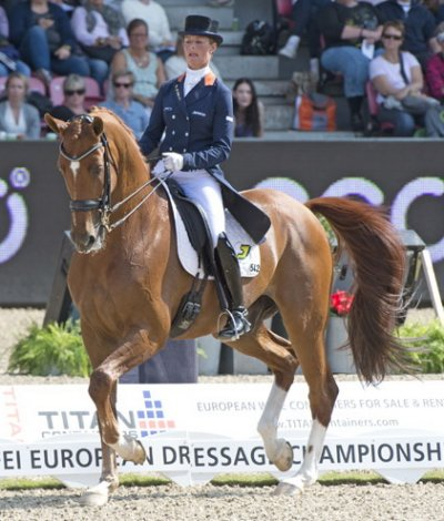 Adelinde Cornelissen's Jerich Parzival made a  remarkable recovery following a serious health scare this summer to  clinch Team gold and Individual bronze at the Blue Hors FEI European  Dressage Championships in Herning, Denmark this week.  Tomorrow the  dynamic Dutch duo return to the MCH arena as defending Freestyle  champions