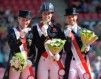 Britain's Charlotte Dujardin and Valegro won the Grand Prix Special at the Blue Hors FEI European Dressage Championships 2013 in Herning, Denmark today.  Pictured on the podium (L to R): silver medallist Helen Langehanenberg (GER), gold medallist Charlotte Dujardin (GBR) and bronze medallist Adelinde Cornelissen (NED)
